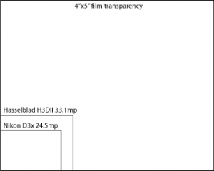 Large format film size vs DSLR CCD size